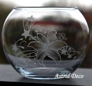 Bol gravat - Floare