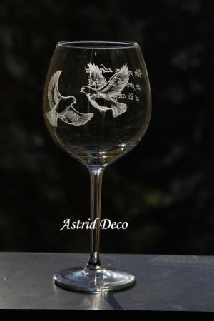 Pahar vin gravat - Turturele