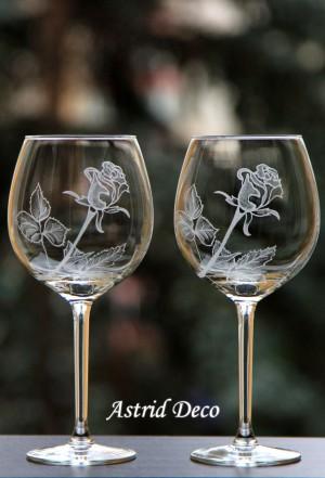 Set 2 pahare vin - Trandafir