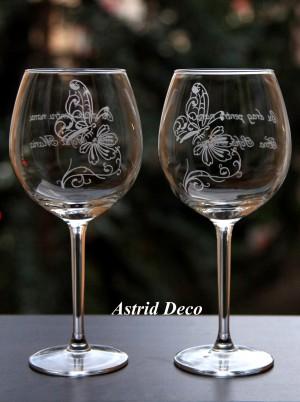 Set 2 pahare vin gravate - Fluture pe floare