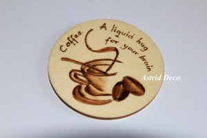 Coaster lemn pirogravat - Coffee D