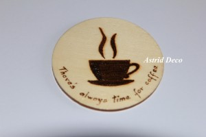 Coaster lemn pirogravat - Coffee F