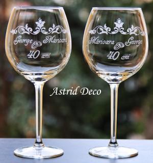 Set 2 pahare vin- Aniversare 40 ani