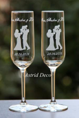 Pahare miri - nunta + botez - gravate manual