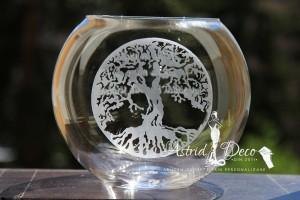 Bol de sticla gravat manual - Copacul vietii - 20cm