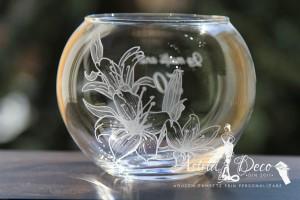 Bol de sticla gravat manual - Crini - 12 cm
