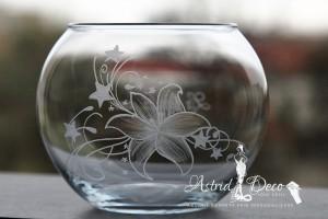 Bol de sticla gravat manual- Floare cu stelute - 12cm