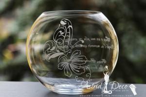 Bol de sticla gravat manual- Fluture pe floare - 20cm