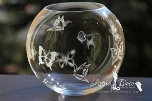 Bol de sticla gravat manual - Fluturi - 20cm