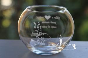 Bol de sticla gravat manual - Furnicuta - 12cm