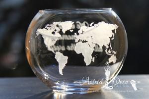 Bol de sticla gravat manual - Harta lumii - 12cm