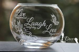 Bol de sticla, gravat manual - Live Laugh Love -12cm