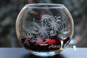 Bol de sticla gravat manual - Model Floral - 20cm