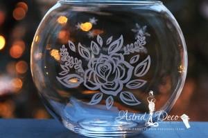 Bol de sticla gravat manual - Trandafir - 20cm