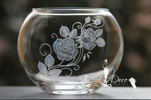 Bol de sticla gravat manual - Trandafiri - 12cm