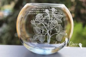 Bol de sticla gravat manual - Trandafiri - 20 cm