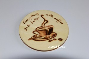 Coaster lemn pirogravat - Coffee A