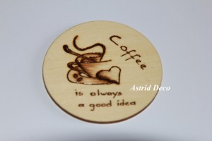 Coaster lemn pirogravat - Coffee B