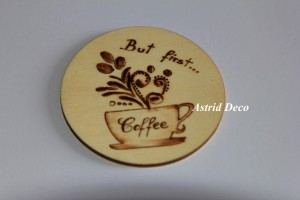 Coaster lemn pirogravat - Coffee C