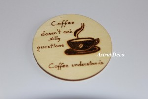 Coaster lemn pirogravat - Coffee E