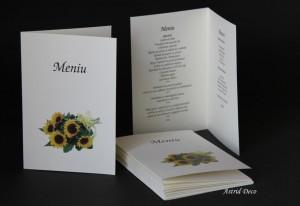Meniu cu Numar masa - Buchet floarea soarelui