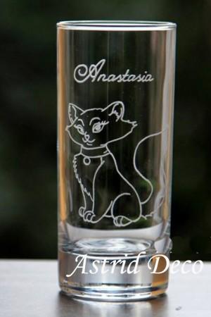 Pahar apa gravat manual- pisica Ducesa