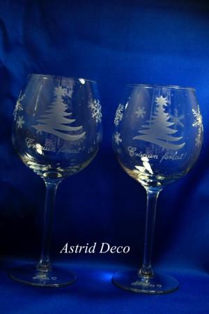 Set 2 pahare vin -gravate manual- Brad si Fulgi