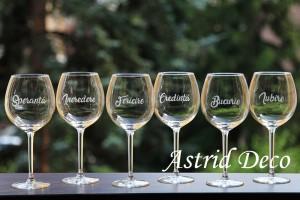 Set 6 pahare de vin-  gravate manual- cuvinte