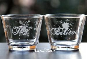 Suport sticla gravat pentru lumanare pastila